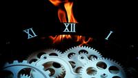 Retro klockväxlar och eld