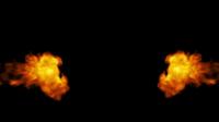 Feuer, das von den Seiten auf einem schwarzen Hintergrund kommt