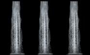 Bucle de textura de cascada sobre fondo negro