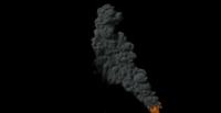 Klein vuurtje rechts op het scherm en veel rook