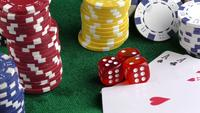 Gambling Poker Cards Red Dices and Chips