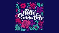 Flower Animation Greeting Card with Popping Text Hello Summer.