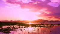 Roze zonsondergang achter bergen in reservoir