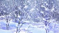 Abstract wooden trees with snow background
