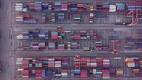 4K Aerial view shot of containers in harbor