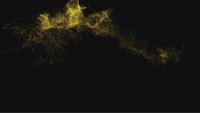 Partículas de polvo amarillo brillante que explotan y se congelan en el aire