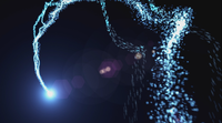 Bright blue lights dancing in black background