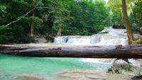 Vattenfall vackert i den vackra tropiska regnskogen.