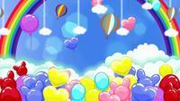 Kleurrijke Cartoon Ballonnen En Een Regenboog