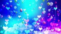 Kleurrijke kleine harten en ballonnen zweven in de lucht