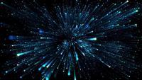 Blauwe sterren vliegen door de ruimte