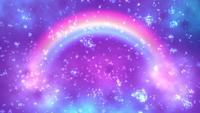 Een sprankelende regenboog op een paarse achtergrond