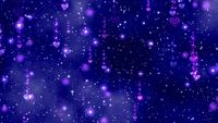 Rosa Herzen fallen langsam in einen lila-blauen Hintergrund