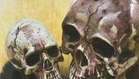 Halloween-schedel met smeltende modder