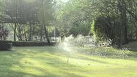 Sprinklers die het gras water geven