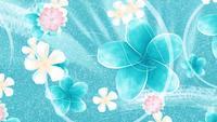 Ljusa pastellblommor i en blå bubbla bakgrund