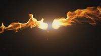 Boules de feu vives brisant sur fond noir