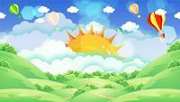 Heldere kleurrijke hete luchtballons die in de blauwe hemel achter de zon vliegen