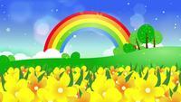 Passando por um campo de flores silvestres amarelas com um arco-íris no fundo