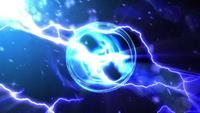 Ein Energieball, der Elektrizität im dunklen Hintergrund ausstrahlt