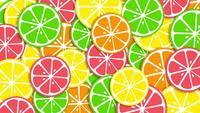 Colorful bright orange slices rotating