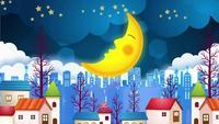 La luna dormida se mueve en el cielo nocturno.