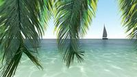 En segelbåt på det klara blå havet