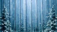 Hölzerner Winterhintergrund und Fichten