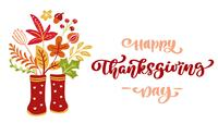 Animierter Text Happy Thanksgiving Day und Illustration
