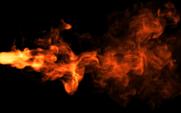 Bola de fuego sobre fondo negro