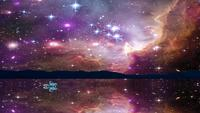 Animação de condução de carro e reflexão da galáxia