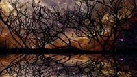 Panorama of nebula galaxy reflection on the lake