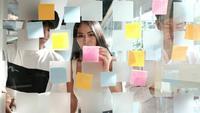 Empresários discutindo idéias com post-it em uma parede de vidro