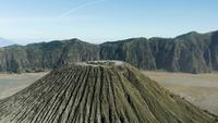 Aerial Shot with view on Mountains ion Indonesia, Mt. Bromo