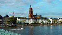 Boat is Passing on the Main river in Frankfurt Germany