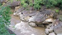 Corriente de agua que fluye a través de las montañas en un bosque