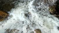 Água corrente no rio da montanha entre pedras