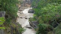 Río que fluye a través de montañas en un bosque
