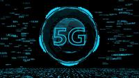 HUD The 5G  technology and the world digital data cyber technology background.