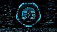HUD 5G-tekniken och världens digitala datakyber-teknikbakgrund.
