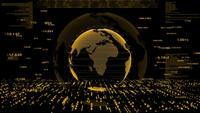 Gouden wereld en futuristische digitale gegevens.