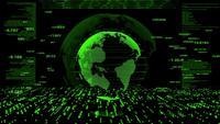 Grön värld och en futuristisk digital data.