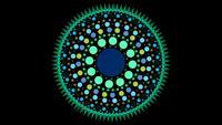 Een groene en blauwe cirkel gemaakt van stippen en kleine driehoeken