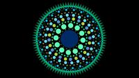 A Green And Blue Circle Made of Dots and Small Triangles