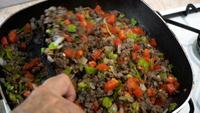 Minced meat roasting in the pan