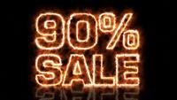 Negentig procent verkoop vlam letters