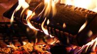 Brennendes Holzfeuer und Asche