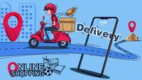 Online winkelen, levering per scooter.