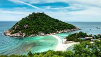Paraíso de praia tropical, ilha de Koh Nang Yuan, Tailândia