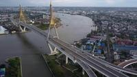 Traffic at the Bhumibol Bridge, Thailand.